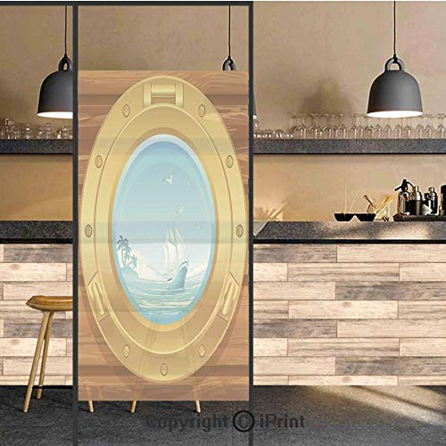 3D Decorative Privacy Window Films,Brass Porthole on a Wooden Penal Golden Metallic Palm Trees Island Birds,No-Glue Self Static Cling Glass Film for Home Bedroom Bathroom Kitchen Office 17.5x71 Inch