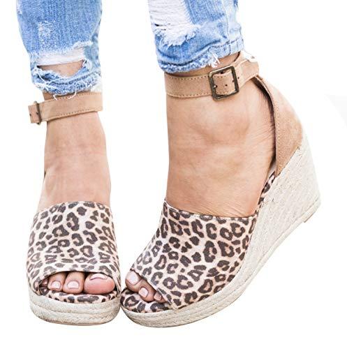 Womens Espadrille Platform Wedge Heel Peep Toe Ankle Strap Slingback Suede Sandals (8 M US, e-Leopard)