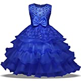 OBEEII Flower Girls Sequins Ruffles Princess Dresses Rhinestone Bowkont Decor Sleeveless Ball Gown for Pageant Communion Ceremony Wedding Bridesmaid Birthday Evening Prom Party 8-9 Years Blue