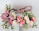 Peculiar Design Bohemia Style Bridal Accessories Artificial Lily Flower Headdress_Dark Pink