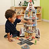 CP Toys Solid Wood Four Story Rocket Ship with 2 Bendable Astronauts and Accessories / 34 pc. Set