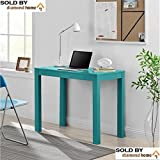 Blue Teal Writing Desks for Small Spaces, Teens, Mens or Ladies Writing Desk Is Modern and Stylish! Space Saving Computer Desk! Blue Simple Work Desk with Drawer Is Perfect for Students!