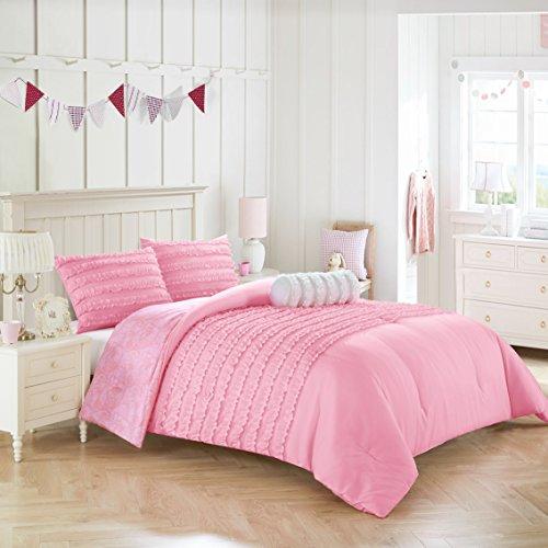 Heritage Kids Rhea Textured Ruffle Pink Comforter Set, Twin, (Comforters With Ruffles)