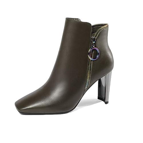 ZPEDY Zapatos De Mujer, Cremallera, Tacones Altos, Botines, Estilo Europeo Y Americano, Cómodo: Amazon.es: Zapatos y complementos
