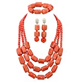 Africanbeads 3 Rows Pink Coral Beads Nigerian Bridal Jewelry Set Wedding Beads Necklace(ABC057)
