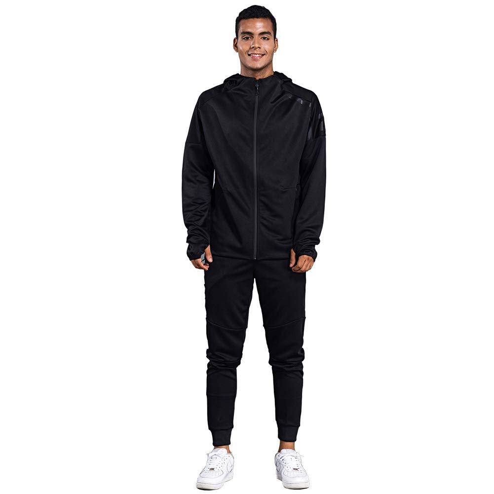 Shinestone Men's Sport Casual Tracksuit Warm Up Tracksuit Gym Training Wear (8401-Black, XX-Small) by Shinestone