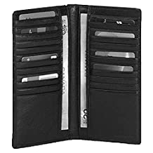 Mancini Leather Men's Breast Pocket Wallet Black w/RFID