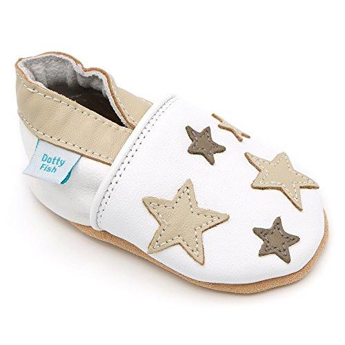 Dotty Fish Leder Babyschuhe - rutschfest Wildledersohle - Jungen und Mädchen - Weiße und braune Sterne - Neugeborenen bis 2-3 Jahre