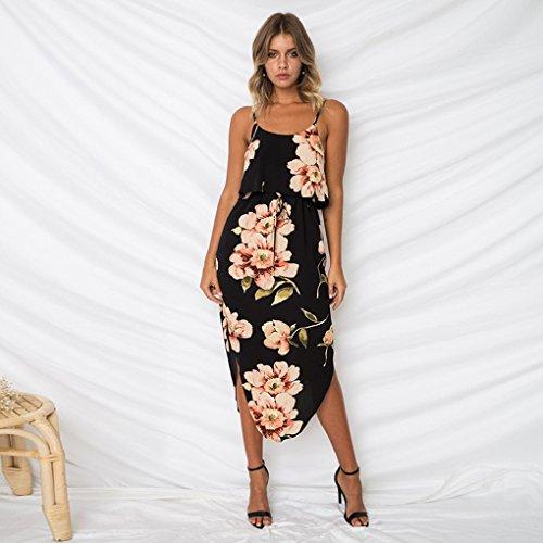 Minetom Damen Kleider Elegant Ärmellos Maxikleid Blumen Böhmen Sommerkleid Lang Sling Partykleider Mit Schlitz Saum Sexy Dress Stil 09 rJiszu