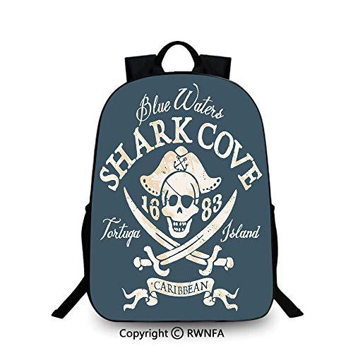 Backpack for Kids,Shark Cove Tortuga Island Caribbean Waters Retro Jolly Roger School Backpacks For boys Slate Blue White Light Mustard