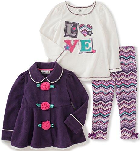 Kids Headquarters Little Girls 3 Pieces Winter Fleece Flowers Button Pants Set, Plum, 6