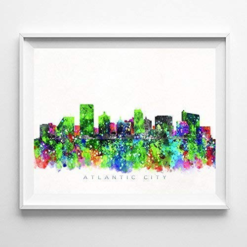 Atlantic City New Jersey Watercolor Skyline Poster Cityscape Wall Art Print Home Decor Watercolour Artwork - Unframed ()