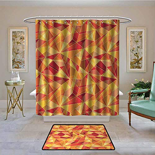 Kenneth Camilla01 Waterproof Shower Curtain Abstract,Mosaic Pattern with Fractal Triangle Geometric Fragments Digital Print,Orange Marigold Red,Bathroom Curtains for Shower with Hooks Set 94