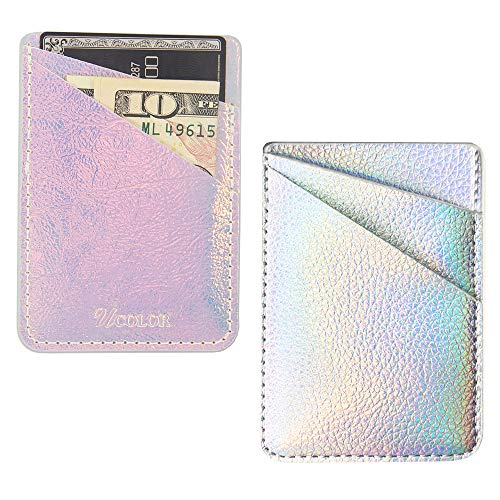 Phone Card Holder uCOLOR PU Leather Wallet Pocket Credit Card ID Case Pouch 3M Adhesive Sticker on iPhone Samsung Galaxy Android Smartphones(fit for 4.7 Phone or Above) (Iridescent Silver) ¡­