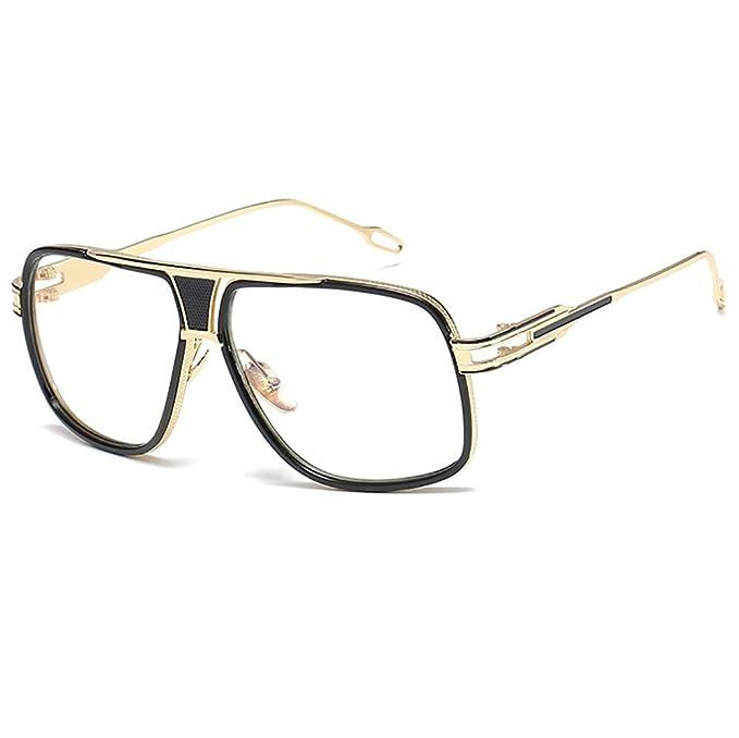 372d8a32bc489 Retro Oversized Aviator Sunglasses Metal Frame for Men Women Square Glasses  Clear Lens Gold Rim