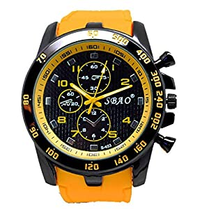 DOLDOA Sale Clearance for Men's Silicone Strap Sport Analog Quartz Modern Boys Fashion Wrist Watches (Yellow)