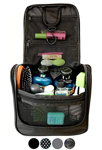 WAYFARER SUPPLY Hanging Toiletry Bag: Pack-it-flat Travel Kit, Black -