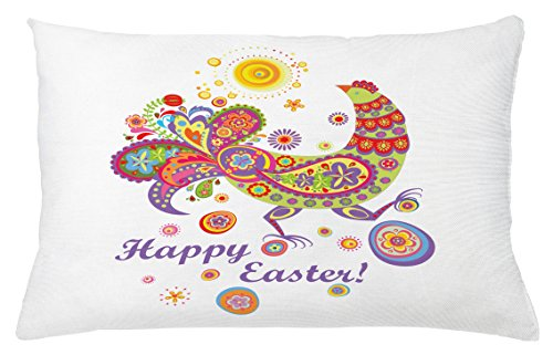 Easter Throw Pillow Cushion Cover by Ambesonne, Colorful Farm Animal with Blossoming Flowers Dots and Curls Egg Filled Background, Decorative Square Accent Pillow Case, 26 X 16 Inches, Multicolor