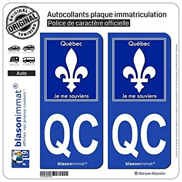 Two self adhesive car stickers with qc qubec design registration plate for