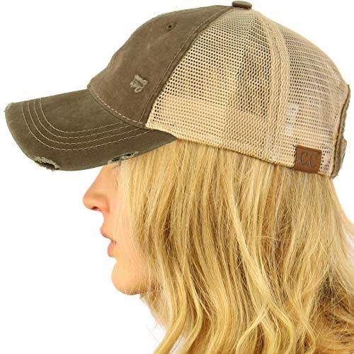 CC Everyday Distressed Trucker Mesh Summer Vented Baseball Sun Cap Hat Olive