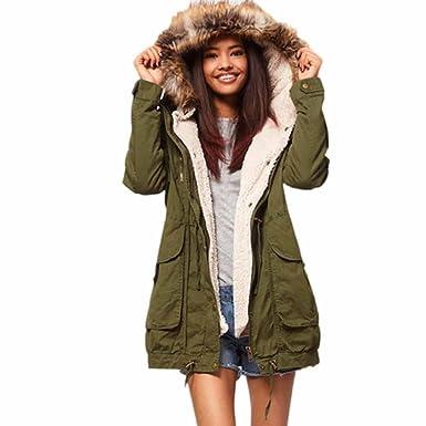 Abrigos de Invierno Mujer Hoplsen Parka Elegante Jersey Caliente Con Capucha Chaqueta de Manga Larga Abrigo
