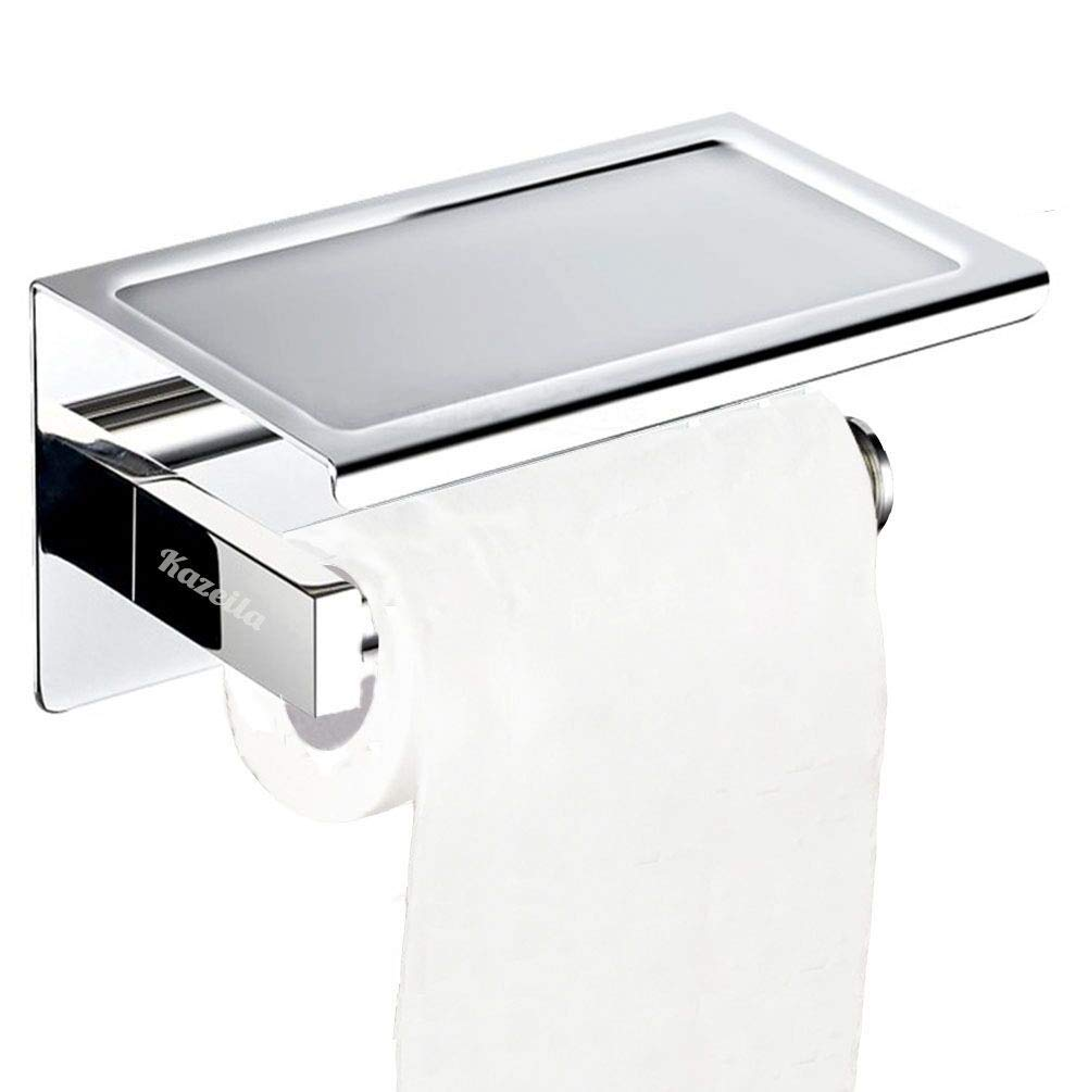 Kazeila Toilet Roll Holder No Drilling, Toilet Paper Holder, Bath Installations, 304 Stainless Steel Wall Mounted WC Tissue Holder for Bathroom (Brushed) MZY