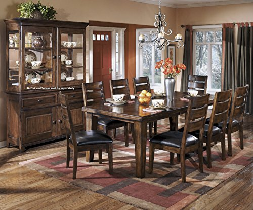 Lairecmont Casual Burnished Dark Brown Color Rectangle Dining Room Table Set, Table, 8 Chairs