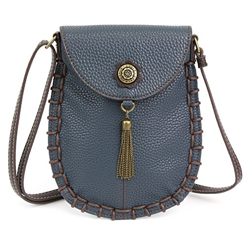 Chala Charming Crossbody Cell Phone Purse - Women PU Leather Handbag with Adjustable Strap - Navy