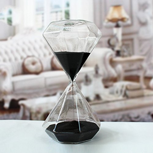 Creative Romantic Colorful Fashion Diamond Shape Glass Hourglass Sandglass Timer Home Desk Decor Kithchen Cooking Countdown Use Xmas Birthday Gift(30 Minutes Black)
