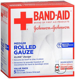 Band Aid Rolled Gauze Medium - 5 rolls, Pack of 2 by Johnson & Johnson