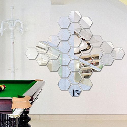 Auwer 12Pcs Fashion 3D Hexagon Pattern DIY Modern Acrylic Mirror Wall Stickers Floor Stickers Light Weight Vinyl Art Mural Decals For Kids Room Living Room Home Decor DIY Decorative Removable (Silver)