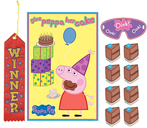 Peppa Pig Pin The Tail on The Donkey Style Party Game with Blindfold & Stickers! Plus 1st Winner - Pin On Donkey Tail Game Party The The