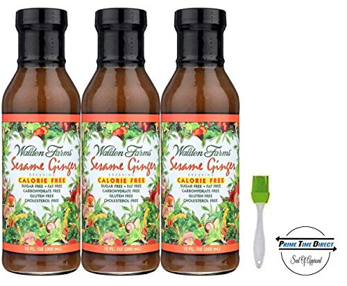 Walden Farms Sesame Ginger Salad Dressing 12oz (Pack of 3) with Silicone Basting Brush in a Prime Time Direct Sealed Bag ...