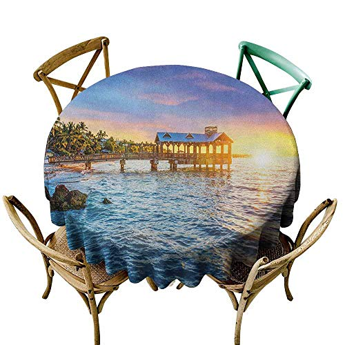 Sunnyhome Water Resistant Table Cloth United States Pier at Beach in Key West Florida USA Tropical Summer Paradise Pale Blue Yellow Green High-end Durable Creative Home 43 INCH (Best Pizza In Key West)