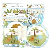 It's a Boy Animal Theme Baby Shower Bundle for 12 people - Dinner Plates, Luncheon Napkins, Cups, Centerpiece, Letter Banner and Garland