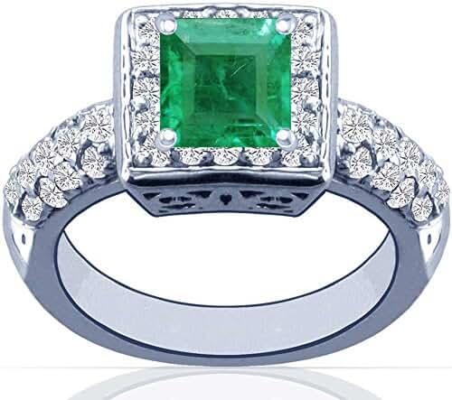 Platinum Princess Cut Emerald Ring With Sidestones