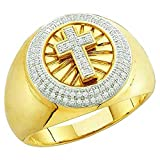 DazzlingRock Collection 0.40 Carat (ctw) 10K Yellow Gold Round Diamond Men's Hip Hop Cross Band Ring (Size 13)