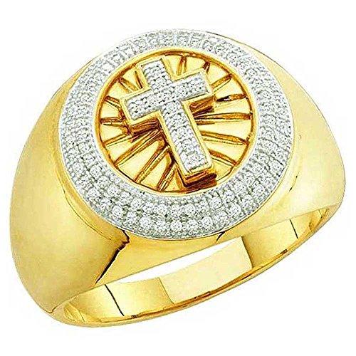 DazzlingRock Collection 0.40 Carat (ctw) 10K Yellow Gold Round Diamond Men's Hip Hop Cross Band Ring (Size 13) by DazzlingRock Collection