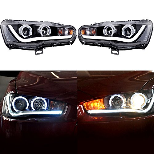 ECCPP Headlights Assembly DRL LED Halo Projector Headlamps For 2008-2016 Mitsubishi Lancer EVO Pair Set