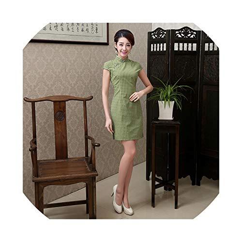 (HappyWe New Summer Cheongsam Retro Slim Cotton Cheongsam Dress Improved Short Sleeve Cheongsam Dress Suzhou,1544,M)