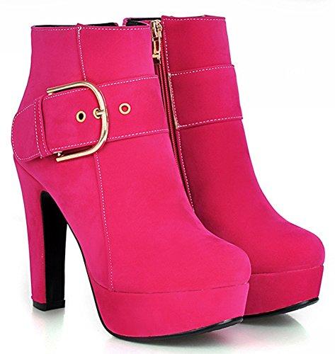 Platform Side Booties Zipper Tomato Ankle Womens Heel Buckle High Chunky Dressy IDIFU q8fwxSC