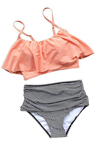 Cheryl Bull Unique Comfortable Women Falbala High-waisted Bikini Set Peach/Black-white strips Large as pictureLarge by Cheryl Bull Athletic-two-piece-swimsuits