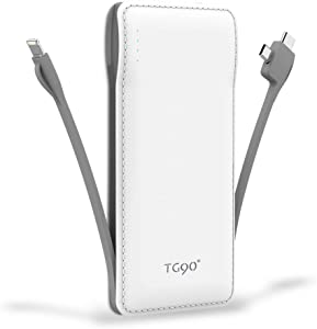 TG90 Portable Charger 10000mah Cell Phone Battery Backup, Ultra Slim Power Bank with Built in Cables, Portable Phone Charger External Battery Packs Compatible with iPhone Android Smartphones