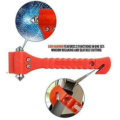 AUTOARK Car Safety Antiskid Hammer Seatbelt Cutter Emergency Class - Window Punch Breaker Auto Rescue Disaster Escape Life-Saving Hammer Tool,2 Pack,AZ-015: Automotive
