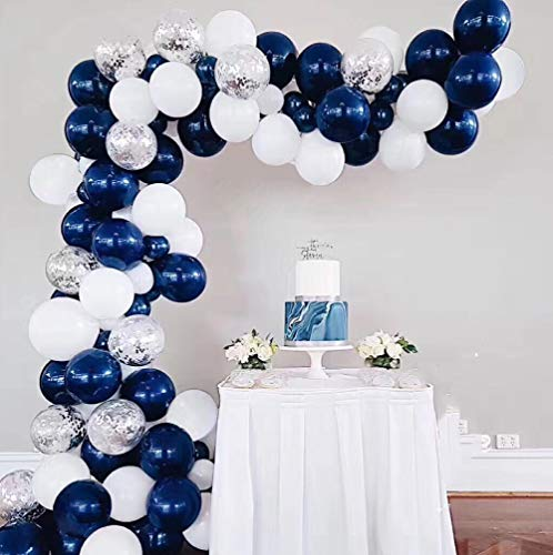 (Blue White Balloons Arch Garland Kit Royal Baby Shower Balloons Navy Blue Silver Confetti Balloon Bridal Shower Wedding Birthday Party Decorations Navy Party)