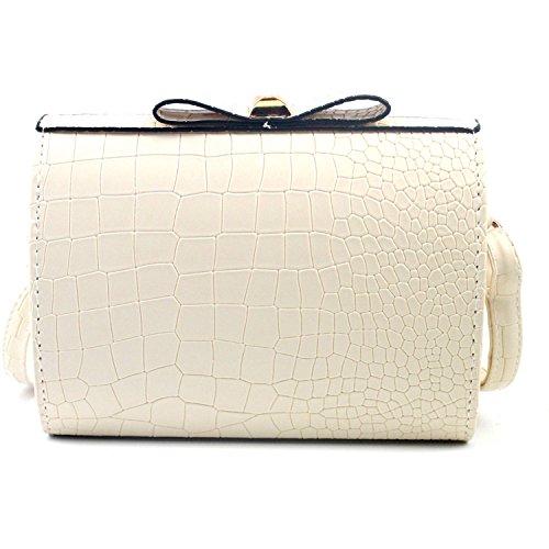 Solme New Fashion Women Croco Bow Handbag Shoulder Bag Leather Lady Handbags Crossbody Bag Messenger Bags Tote Ladies Purse Beige Mini(Max Length<20Cm)
