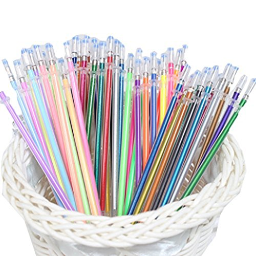 12/24/36/48 Colors Gel Pen Refills Glitter Coloring Painting Refills Set Craft Marker for Kids Adult Coloring Books, Scrapbooking, Drawing,Doodling (48 Colors)