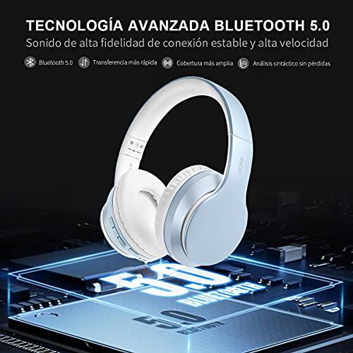 Ifecco Bluetooth Estéreo Auriculares Música sobre-oído Sonido de Alta fidelidad, Bluetooth Banda para la Cabeza Plegable con micrófono y Cable de Audio para Apple iPhone, PC (Azul Liso)