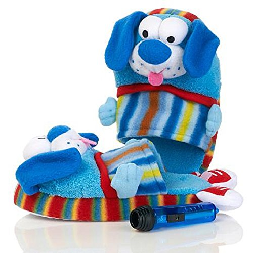 Pawggles Kids' Plush Non-Slip Soft Stuffed Furry Animal Pet Pajama Slippers (Medium 1-3, Puppy Dog) (Disney Pixar Costumes Australia)