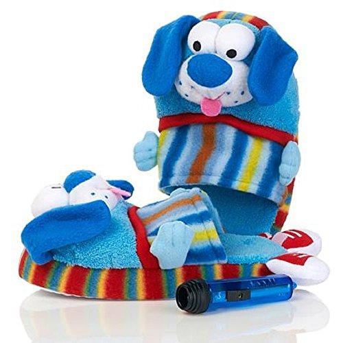 Pawggles Kids' Plush Non-Slip Soft Stuffed Furry Animal Pet Pajama Slippers (Medium 1-3, Puppy Dog)